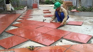 Construction Plans - Install Ceramic Tiles Red On Yard, Traditional Techniques Craft Skills