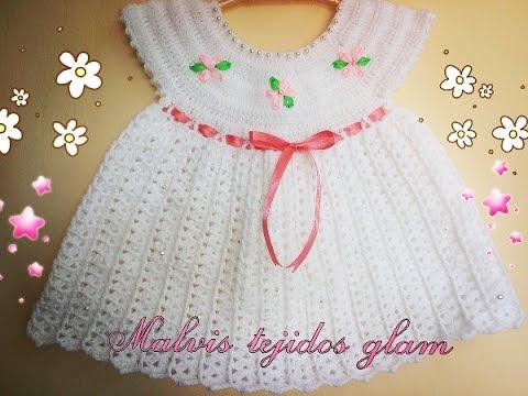 Vestido Para Bebé Tejido A Crochet O Ganchillo Fácil Y