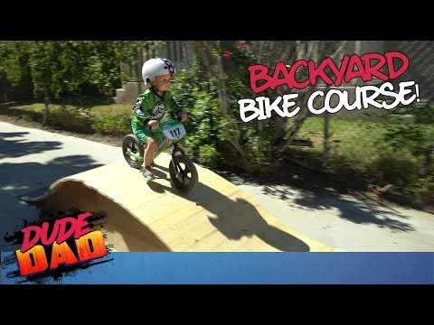 Toddler slays epic backyard bike course! | Dude Dad
