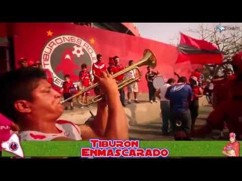"""""""La aficion del tiburon rojo con el tiburon enmascarado"""" Barra: Guardia Roja • Club: Tiburones Rojos de Veracruz"""