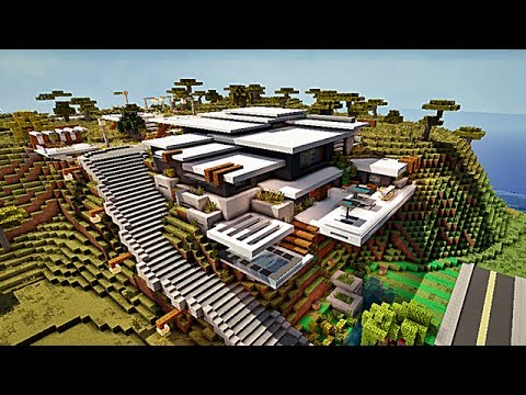 Super Mountain modern house Minecraft Project BZ62
