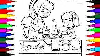 Coloring Pages Kitchen L Mommy Baking With Boy And Girl Drawing To Learn Color