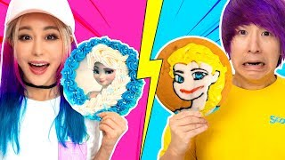 Cake Icing Art Challenge | Gf vs Bf | Learn To Make Elsa, Pikachu, Roblox