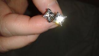 REVIEW:  Luvami 18k White Gold Cubic Zirconia Princess Cut Stud Earrings