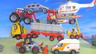 Polizeiauto, Bagger, LKW, Helicopter, Krankenwagen & Traktor - Spielzeugautos für Kinder