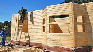 Amazing Fastest Wooden House Construction Method - Intelligent Process Log House Building in 1 Day