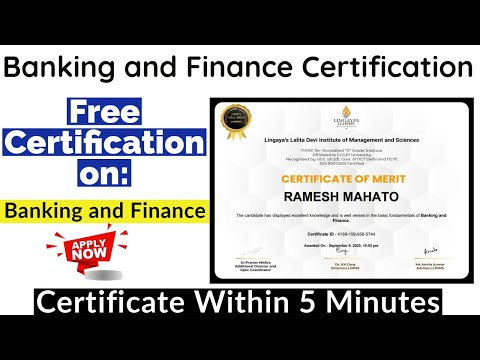 Banking and Finance Free Certification | Verified Certificate | Free ...