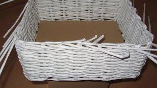 Плетение из газетных трубочек для начинающих пошагово фото