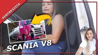 Mulher Pilotando ScaniaV8 R620 Rodotrem 9 Eixo No Dolly