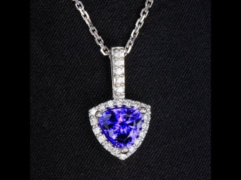 Trilliant Tanzanite Pendant with Fine Diamonds