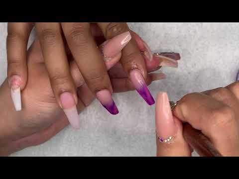 Acrylic Nails Tutorial | All Acrylic Ombré Nails | Pink and Purple Nails