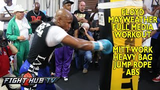 Mayweather vs. Maidana 2- Floyd Mayweather full workout: Mitts +speed bad+ heavy bag
