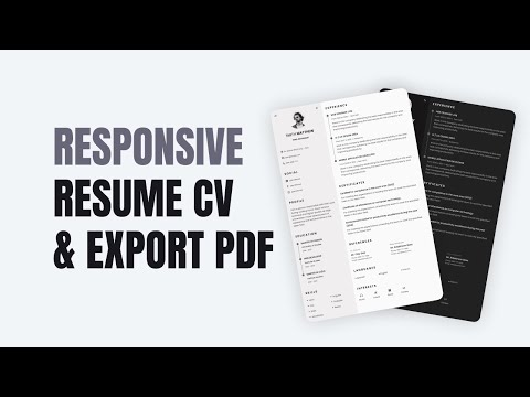Responsive Resume Cv Website Using HTML CSS And JavaScript | Light/Dark Theme & Export PDF