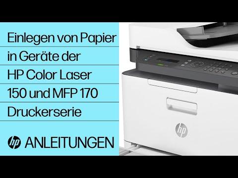 Einlegen von Papier in Geräte der HP Color Laser 150 und MFP 170 Druckerserie