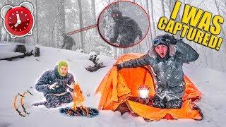 Captured By BIGFOOT!! 24 Hour Snowstorm Survival - Spy Gadgets, Fort Building (Sasquatch)