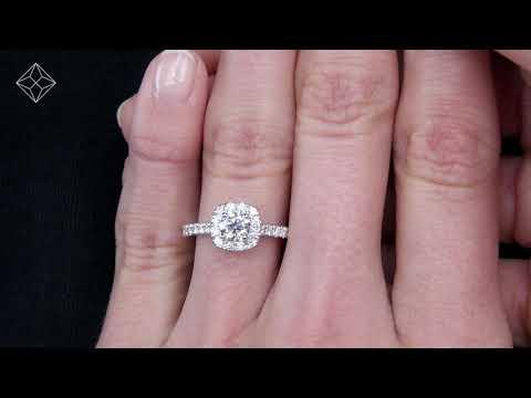 Elizabeth GIA 1.00ct Diamond Halo Engagement Ring In Platinum - UT73