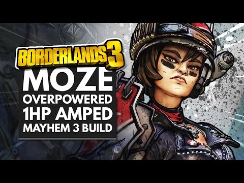 Borderlands 3 Best Builds   Moze Overpowered Amped 1 HP Mayhem 3 Build
