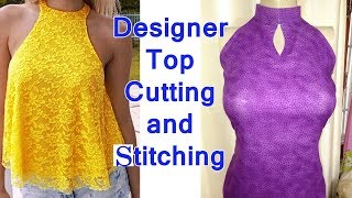 Designer Stylish Top Cutting And Stitching // Trendy Sleeve Lace Top Sewing Tutorial