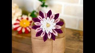 【100均材料だけで つまみ細工】kanzashi Flower  Fabric Flower DIY 成人式 七五三髪飾り作り方