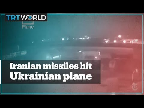 Footage shows two Iranian missiles hit Ukrainian plane