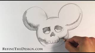 How To Draw A Mickey Mouse Skull - Draw Tattoo Art