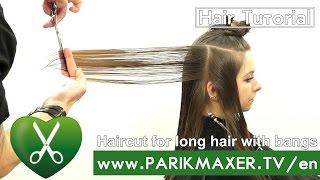 Haircut for long hair with bangs. parikmaxer TV USA
