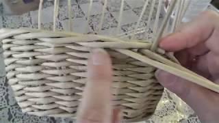 Завершение плетения из газетных трубочек