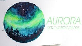 Смотреть онлайн Как нарисовать северное сияние акварелью