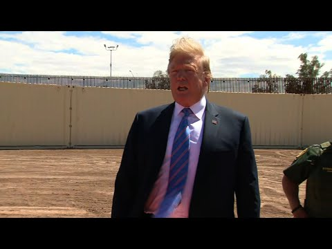 President Donald Trump is showcasing a section of border wall that separates the United States and Mexico. (April 5)