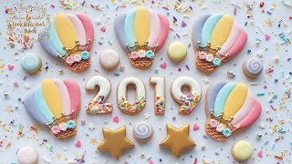 2019 HAPPY NEW YEAR Cookies & Hot Air Balloon - How To Pipe BURLAP With Royal Icing