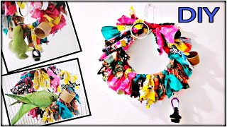 How To Make EASY DIY BIRD TOY( Parrot Toy)| Bird Swing| Juguetes De Aves| Fabric Wreath