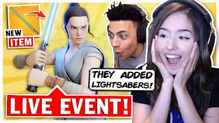 Pokimane Reacts to Star Wars X Fortnite LIVE EVENT ft. TSM Myth!