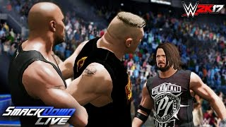 wwe-2k17-custom-story-brock-lesnar-calls-out-mysterious-man-a-new-smackdown-live-gm-ft-aj-a-rock