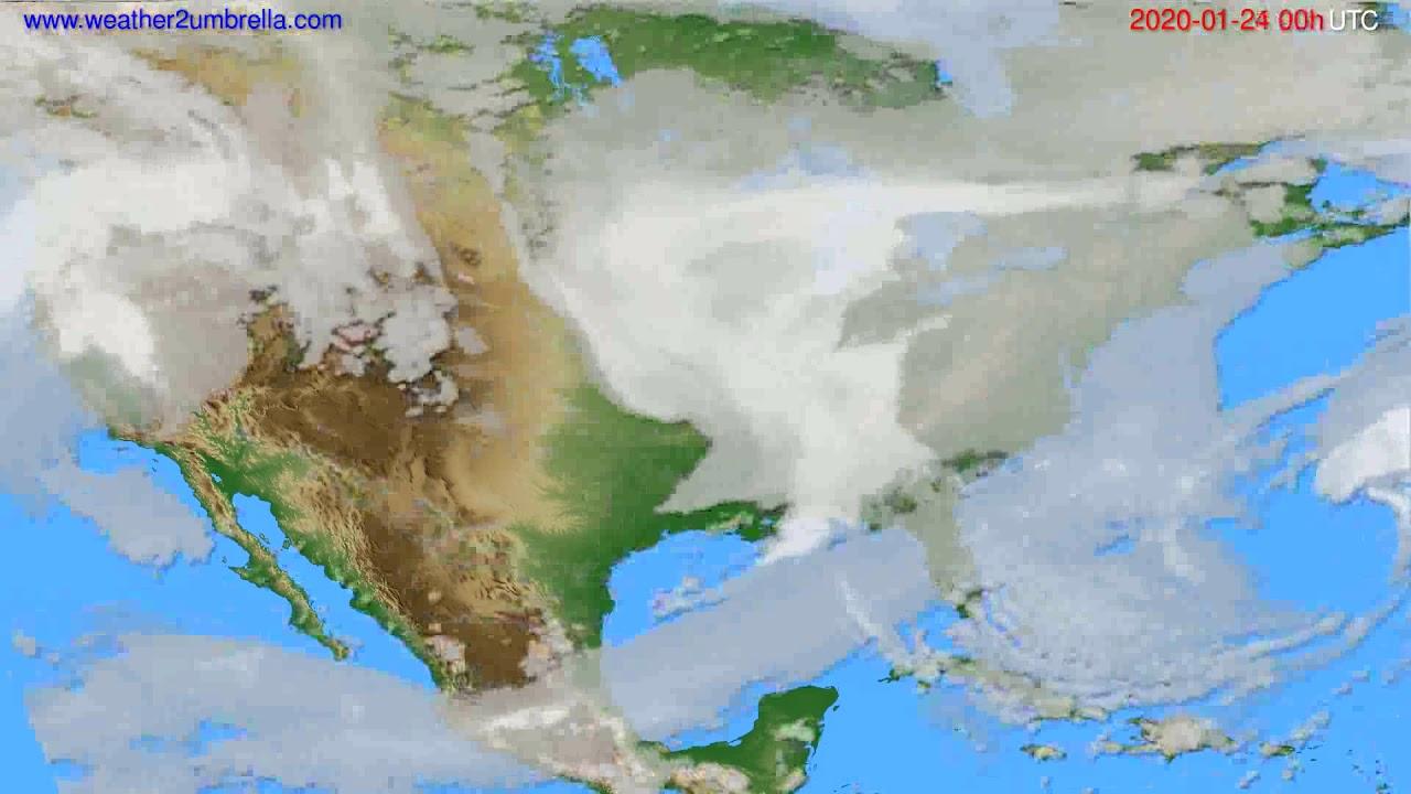 Cloud forecast USA & Canada // modelrun: 00h UTC 2020-01-23