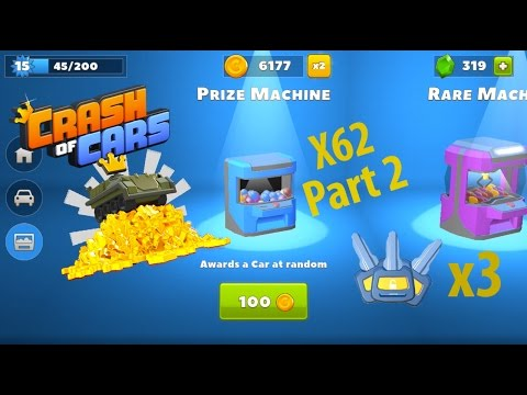 Crash Of Cars 6,000 Coin Prize Machine Opening Part 2 ! 3 Legendary Cars !!