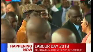 Raila Odinga arrives for the Labour Day celebrations at Uhuru Park