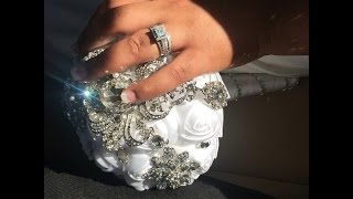 #1 Bridal   Bouquet Brooch Wedding Flowers Fabric Roses