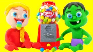 FUNNY KIDS & THE GUMBALL MACHINE ❤ Play Doh Cartoons For Kids