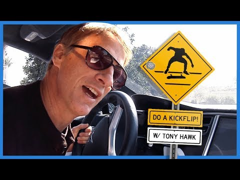 "Tony Hawk Yelling ""Do A Kickflip!"" At Skateboarders From His Car"