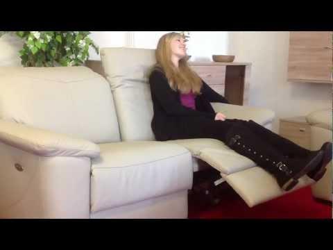 Leder Sofa elektrisch verstellbar Sitz rechts Relax Funktion