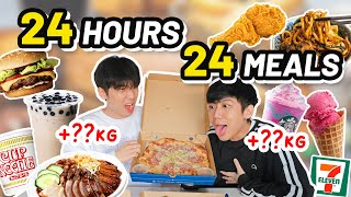 EATING 24 MEALS IN 24 HOURS OMG *WE REGRETTED*