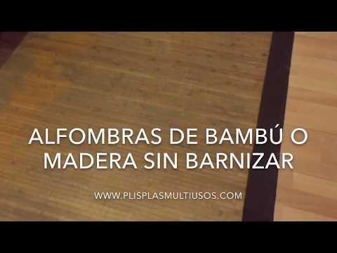 Como limpiar una alfombra de bambú sin barnizar, muy sucia, con Plis Plas Desinfectante Multiusos