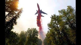 Тушение горящего арсенала самолетом в Калиновке, снято с высоты. Калиновка взрывы.