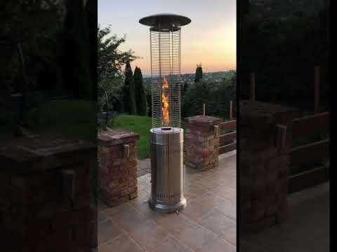 Aspen Gázüzemű Látvány Hősugárzó Henger INOX - BYH-B-SS - kerti, terasz fűtő, pb gáz