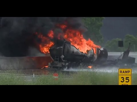 Fuel tanker fire on I-75 shuts down stretches of northbound and southbound lanes