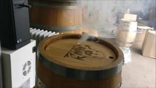 Family Crest Barrel Keg Laser Engraving Video