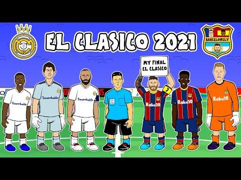 Real Madrid vs Barcelona: the cartoon!  (2-1 El Clasico Goals Highlights Kroos Benzema Mingueza)