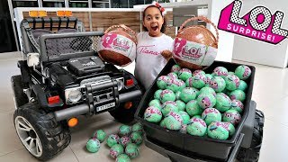 100 LOL Surprise Dolls Toy Hunt Giveaway!! Power Wheels Ride On Car