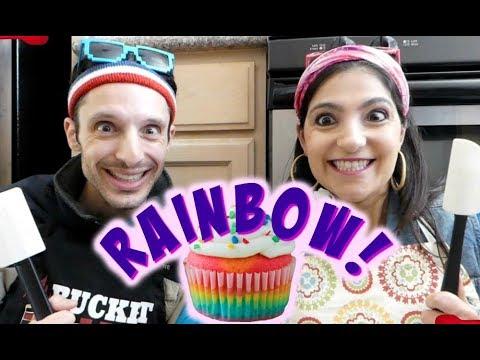 Rainbow Cupcakes Recipe (Vegan)   Comedy Cooking   Pillow Talk TV web series