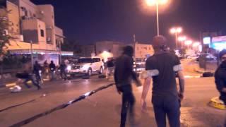 preview picture of video 'ثوار خط الصمود ينفذون عملية عصيان الأمين إغلاق تقاطع مدينة عيسى | 27-1-2015'